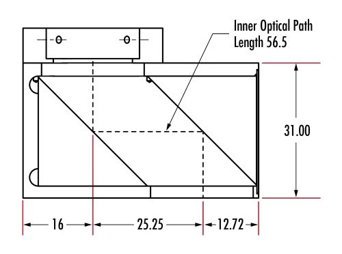 25.25mm Optical Axis Offset Prism Adapter (Units: mm)